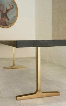 BDDW Bronze Trestle Table contemporary dining tables