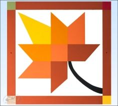 Orange/Yellow Leaf Barn Quilt - 2 foot square - Product Image