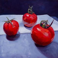 ARTFINDER: Three Tomatoes on White by Harriet  Hue - Still life oil painting of three tomatoes on a white cloth. This textured vibrant painting is a must for any kitchen or dining room.  Ready to hang in a high...