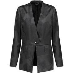 Etro Satin-jacquard blazer (£334) ❤ liked on Polyvore featuring outerwear, jackets, blazers, black, etro, jacquard blazer, etro blazer, satin blazer jacket and blazer jacket