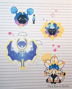 Chibi Cosmog/Cosmoem/Solgaleo/Lunala Stickers and Magnets Solgaleo Pokemon, Pokemon Moon, Cute Pokemon, Pikachu, Drawing Projects, Hindu Deities, All Games, Cute Creatures, Chibi