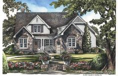 A European craftsman house with courtyard entry garage, porches front and rear, a study and private master suite, 2 bedrooms on upper level AND a bonus room. Cottage House Designs, Cottage Homes, Cottage Style, Cottage Chic, Cottage Floor Plans, Country House Plans, House Floor Plans, Courtyard Entry, Courtyard House Plans