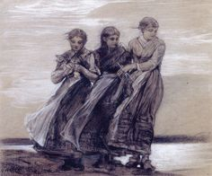 Winslow Homer - Three Girls - Drawing - charcoal and white chalk on paper