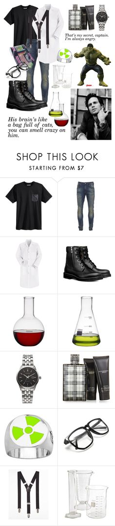 """""""Bruce Banner (The Hulk) - Son of Athena"""" by themarveldemigod ❤ liked on Polyvore featuring Hurley, Scotch & Soda, Red Kap, Jay, Citizen, Burberry, Express, Pyrex, men's fashion and menswear"""