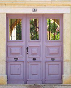 Front Door Paint Colors - Want a quick makeover? Paint your front door a different color. Here a pretty front door color ideas to improve your home's curb appeal and add more style! Cool Doors, The Doors, Unique Doors, Windows And Doors, Door Knockers, Door Knobs, Purple Door, When One Door Closes, Porche