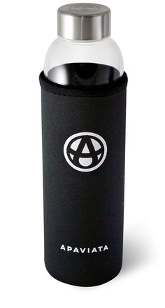 Amazon.com : APAVIATA Glass Water Bottle with BLACK Neoprene Sleeve - 18.5oz Borosilicate Glass & Stainless Steel Insulated Bottle - FREE Carabiner and Hand Strap Included : Sports & Outdoors