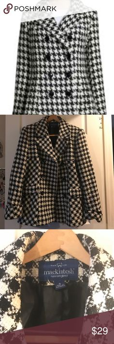 Mackintosh black & white houndstooth-type  peacoat Mackintosh black and white houndstooth-type, checker print peacoat with 6 button detail front and cuffed sleeve. I love reasonable offers. Mackintosh Jackets & Coats Pea Coats