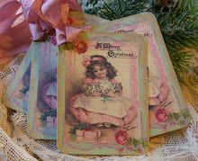 Vintage Cards by Tattered Treasures Shabby Chic Pink Girl Doll Christmas Tags Shabby Chic Cards, Shabby Chic Pink, Silk Rose Petals, Silk Roses, Rose Tutorial, Blooming Rose, Card Making Tutorials, Easel Cards, Vintage Tags