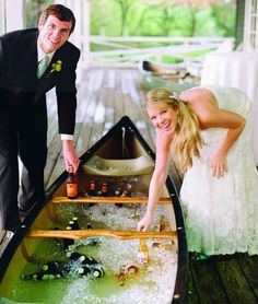 for an outdoor river wedding use a canoe/kayak as a drink troof or for a larger group maybe a row boat :)