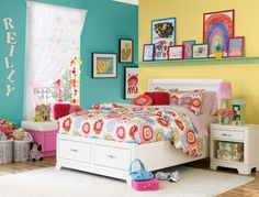 A picture rail is a great way to showcase her ever changing views of the world. Encourage her to frolic among the blossoms, rainbows and other delights that surround us, and her future will be as bright as the colors you chose for her room.