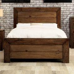 Furniture of America Kailee Rustic Natural Tone Platform Bedroom Set (Cal. Rustic Bedroom Sets, Rustic Bedroom Furniture, Bed Furniture, Online Furniture, Brown Furniture, Steel Furniture, Bedroom Decor, Furniture Stores, Furniture Websites