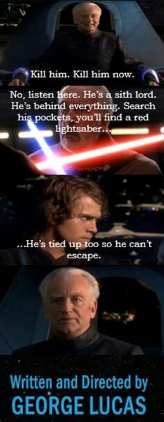 Why didn't Anakin not kill Dooku. He probably would have told him everything Why didn't Anakin not kill Dooku. He probably would have told him everything. Star Wars Trivia, Star Wars Puns, Star Wars Witze, Star Wars Facts, Star Wars Humor, Puns Jokes, Funny Puns, Funny Humor, Funny Picture Jokes