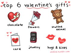 Top 6 valentines gifts - chocolate - flowers - stuffed animal - card - jewelry - hugs and kisses Valentine Day Love, Valentine Gifts, Chibird, Chocolate Flowers, Like A Cat, All Things Cute, Animal Cards, Diy Box, Cristiano