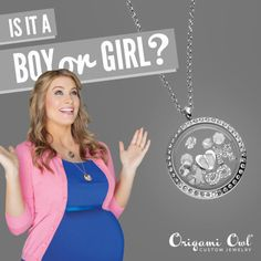 Gender reveal!  Is it a baby boy or girl? Give us that sealed up envelope...we will create a beautiful gender reveal locket that will be as beautiful as the moment you find out if you will have a son or daughter.   Juliesjewelz.origamiowl.com