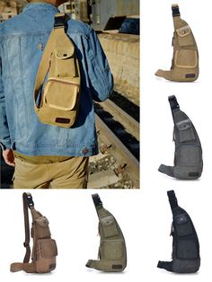 US$15.64  Men Crossbody Bag  Outdoor Casual Canvas Chest Bag Sport Crossbody Bag For Mens