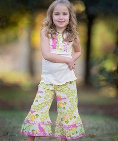 Look at this #zulilyfind! White Kendall Bird Tunic & Pants - Infant, Toddler & Girls by AnnLoren #zulilyfinds
