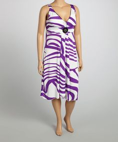 White & Purple Stripe Surplice Dress - Plus by Life and Style Fashions #zulilyfinds