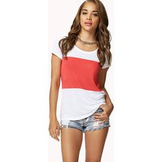 Forever 21 Colorblocked Tee ($5.99) ❤ liked on Polyvore