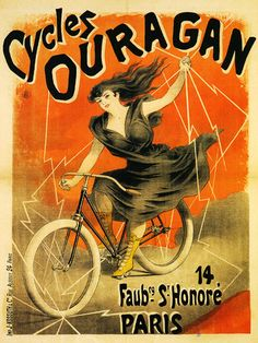 CYCLES Bicycle Ouragan Lady Paris Europe France Vintage Poster