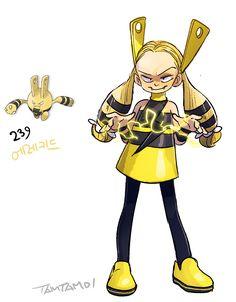 Pokemon Gijinka 239. Elekid >>125. Electabuzz Gijinka