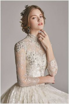 Classical High Neck Long Sleeves Lace wedding dresses, You can collect images you discovered organize them, add your own ideas to your collections and share with other people. Elegant Wedding, Wedding Bride, Wedding Gowns, Wedding Engagement, Lace Wedding, Pre Wedding Photoshoot, Bridal Dresses, Wedding Styles, Beautiful Dresses