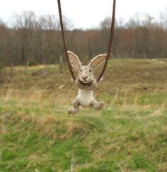 Tiny Rabbit Necklace - needle felted
