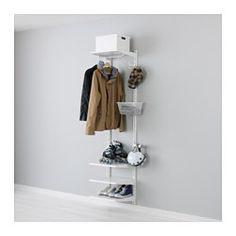 IKEA - ALGOT, Wandschiene/Böden/Stange, Die Teile der ALGOT Serie lassen sich vielseitig kombinieren und können so dem Bedarf und dem vorhandenen Platz angepasst werden.Wandschienen sind die Basis der ALGOT Aufbewahrung. Einfach Konsolen, Böden und andere Einrichtungsteile einhängen, wo gewünscht. Kein Werkzeug nötig.Bei wechselndem Bedarf kann ALGOT verändert und ergänzt werden. Körbe, Stangen und Böden werden einfach ein- bzw. abgehängt.Auch für Badezimmer und andere Feuchträume im Haus…