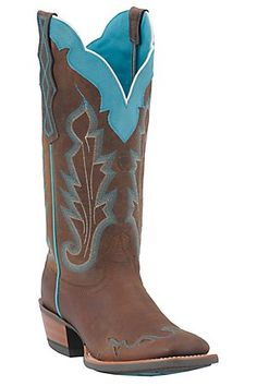 **BIRTHDAY HINT**  Ariat Ladies Withered Brown w/ Turquoise Caballera Square Toe Wingtip Western Boots