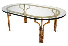 Gilt & Glass Faux-Bamboo Cocktail Table