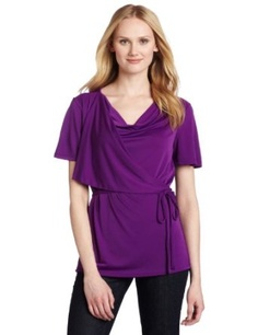 Kenneth Cole Women's Wrap Top, Amethyst, Large   Kenneth Cole  $79.50
