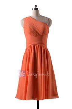 Orange Bridal Party Dress Short One Shoulder Orange Chiffon Bridesmaid Dress(BM032230)