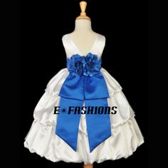IVORY ROYAL BLUE WEDDING FLOWER GIRL KID BRIDESMAID PARTY DRESS 2 3 4 6 7 8 9 10