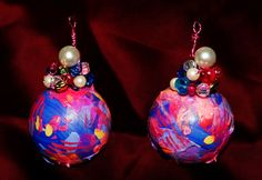 Rocker Color Block Neon Bright Spring Ball Earrings.  Like a Mexican Carnival.  Handpainted & One of a Kind.