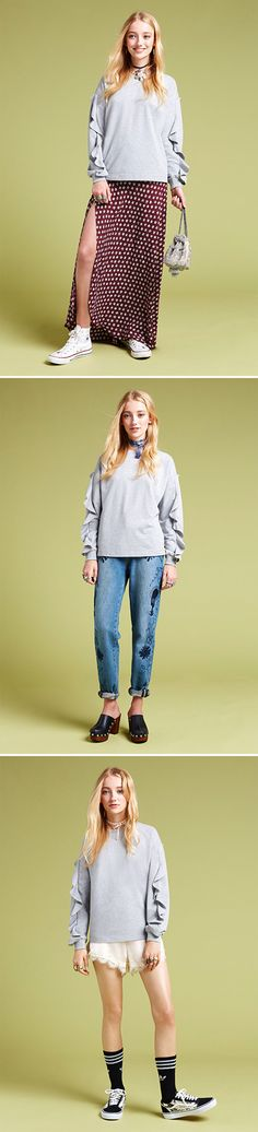 Three ways to style up a frill sweatshirt. Fashion tricks plus products, this way...
