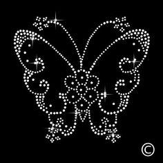 Butterfly Rhinestone Diamante Motif T Shirt Transfer Iron On Hotfix Gem & Garden Bead Embroidery Patterns, Hand Embroidery Designs, Beaded Embroidery, Sequin Crafts, Rhinestone Crafts, Dot Art Painting, Mandala Painting, Mandala Dots, Mandala Pattern