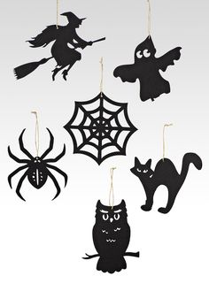 It's easy to decorate for Halloween with these black silhouette ornaments. They include some of the most popular Halloween icons like the owl, the black spider, the black cat, the flying witch, the spider web, and the ghost, all die-cut from thick