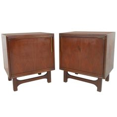 Unusual Mid-Century Modern Nightstands w/ Brass Trim | From a unique collection of antique and modern night stands at https://www.1stdibs.com/furniture/tables/night-stands/