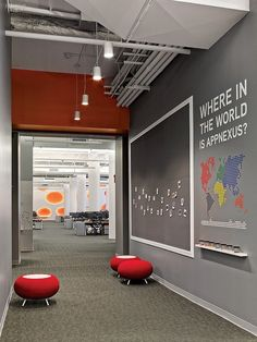 Debra -- another example of using wall space for signage and creative work.They're Onto Something Big: AppNexus's Playful Flatiron Office by Agatha Habjan Office Space Design, Workspace Design, Office Workspace, Office Walls, Office Interior Design, Office Decor, Best Office, Open Office, Cool Office