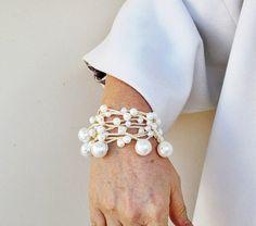 Crochet Pearl Necklace Bracelet lariat wrap glass by MissRosy, $12.90
