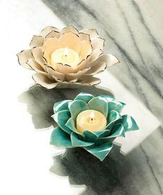 Lotus Tea Light Candle Holders, Set of 2 Lotus Candle Holder, Ceramic Candle Holders, Tea Light Candles, Tea Lights, Lotus Tea, Lotus Flower, Hanging Candle Lanterns, Candle Stand, Ceramic Flowers