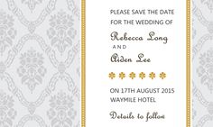 Sheer Damask Save The Date