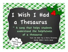 A year-round song to a catchy caroling tune about how a thesaurus can help us find words. My kids love this! Won't the parents LOVE to hear their child sing about a thesaurus?! {Grades 1-4} $ #ELA #christmascarol #TpT