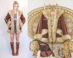 70s Genuine Sheepskin Shearling Fur Trim Coat   Brown Penny Lane Coat Small M   Womens Vintage Leather Lamb Fur Trim Hippie 60s Jacket Parka