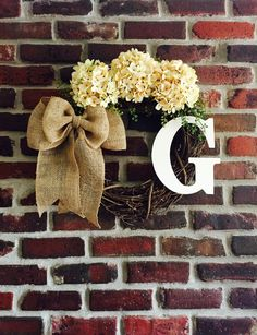 Spring Wreath Monogram-Front Door Wreath-Monogrammed Wreath-Everyday Wreath-Initial Wreath-Summer Door Wreath-Rustic Wreath-Monogram Wreath by CharmYourDoor on Etsy https://www.etsy.com/listing/290570247/spring-wreath-monogram-front-door-wreath