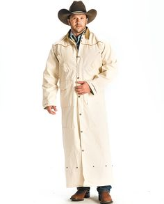 "Schaefer Natural Original Full-Length Duster wind rain snow sleet ""snaps around legs"" ""heavy duty"" ""gifts for cowboys"" ""gifts for men"" drysdales.com ""rancher's jacket"" rugged durable work clothes workwear western menswear for cowboys Fall Winter"
