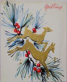 #1627 50s Mid Century Leaping Deer- Vintage Christmas Greeting Card