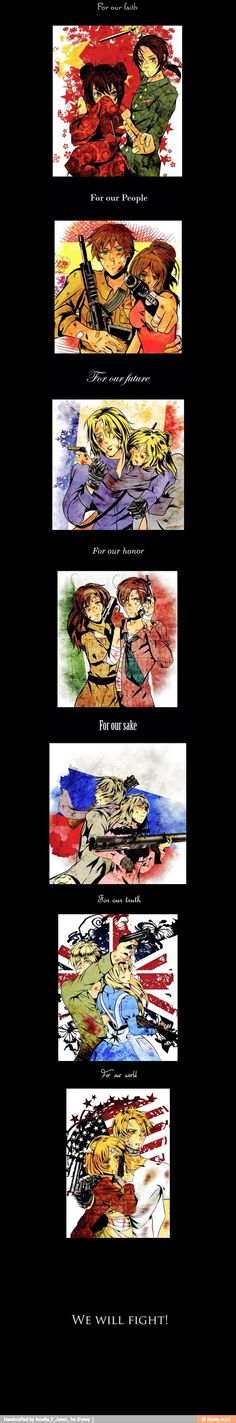 Hetalia - some nations and their fem! versions. Makes me wanna salute all of them for their hard work in this picture T-T>