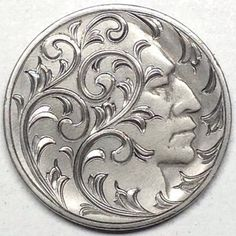 GEDIMINAS PALSIS HOBO NICKEL - BRIGHT CUT SCROLL FACE - NO DATE Tattoo Drawings, Tattoos, Hobo Nickel, Coin Art, American Coins, Metal Clay Jewelry, Metal Engraving, Old Coins, Art Forms