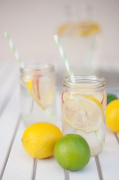Summer refreshing drink with apple and lemon