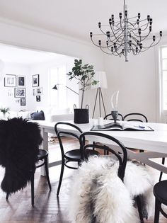 Bright monochrome dining with cosy furs